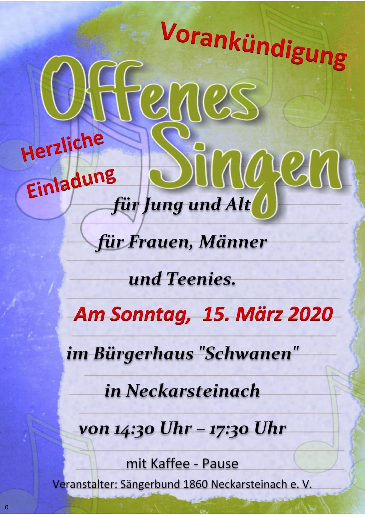 """30 Uhr im Bürgerhaus """"Zum Schwanen"""", zwischendurch gibt es eine Kaffeepause. Die Aufführung wird dann beim Abschlusskonzert am 25. Oktober 2020 sein."""